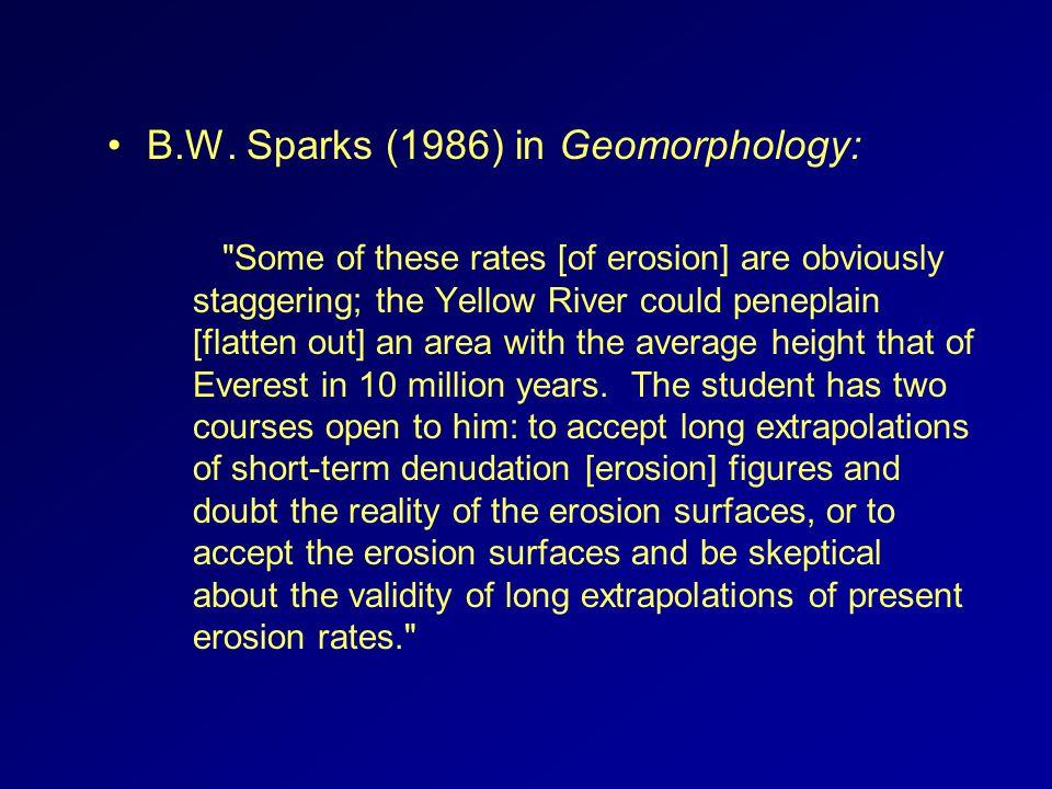 B.W. Sparks (1986) in Geomorphology: