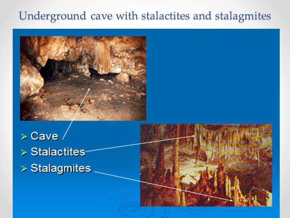 Underground cave with stalactites and stalagmites