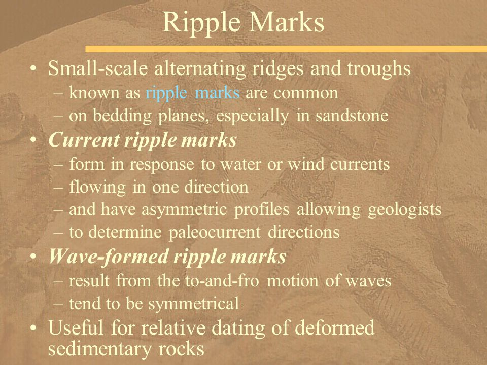 Small-scale alternating ridges and troughs –known as ripple marks are common –on bedding planes, especially in sandstone Current ripple marks –form in response to water or wind currents –flowing in one direction –and have asymmetric profiles allowing geologists –to determine paleocurrent directions Wave-formed ripple marks –result from the to-and-fro motion of waves –tend to be symmetrical Useful for relative dating of deformed sedimentary rocks Ripple Marks