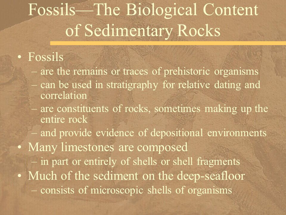 Fossils –are the remains or traces of prehistoric organisms –can be used in stratigraphy for relative dating and correlation –are constituents of rocks, sometimes making up the entire rock –and provide evidence of depositional environments Many limestones are composed –in part or entirely of shells or shell fragments Much of the sediment on the deep-seafloor –consists of microscopic shells of organisms Fossils—The Biological Content of Sedimentary Rocks