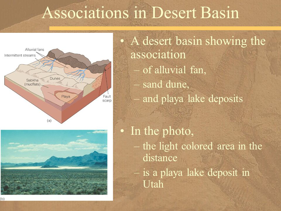 A desert basin showing the association –of alluvial fan, –sand dune, –and playa lake deposits In the photo, –the light colored area in the distance –is a playa lake deposit in Utah Associations in Desert Basin