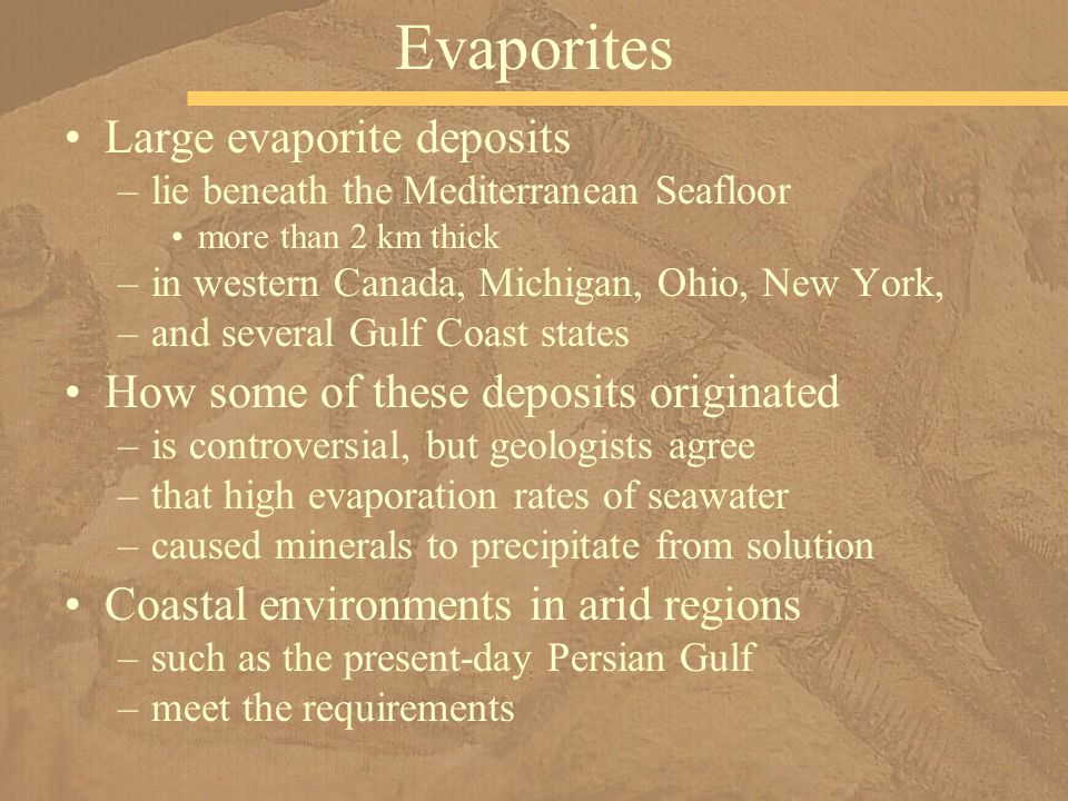 Large evaporite deposits –lie beneath the Mediterranean Seafloor more than 2 km thick –in western Canada, Michigan, Ohio, New York, –and several Gulf Coast states How some of these deposits originated –is controversial, but geologists agree –that high evaporation rates of seawater –caused minerals to precipitate from solution Coastal environments in arid regions –such as the present-day Persian Gulf –meet the requirements Evaporites