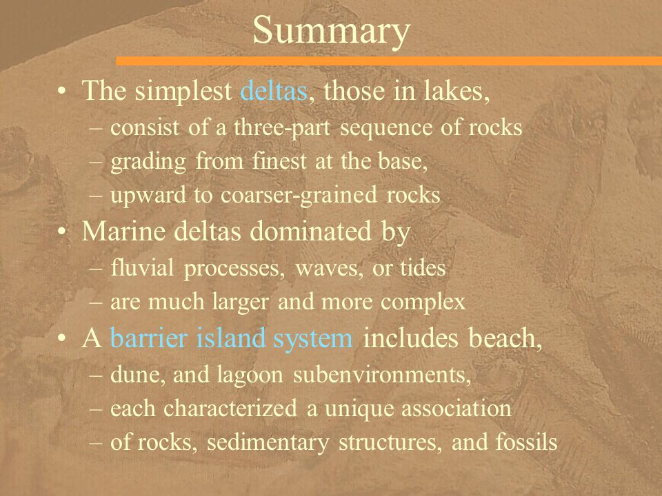 Summary The simplest deltas, those in lakes, –consist of a three-part sequence of rocks –grading from finest at the base, –upward to coarser-grained rocks Marine deltas dominated by –fluvial processes, waves, or tides –are much larger and more complex A barrier island system includes beach, –dune, and lagoon subenvironments, –each characterized a unique association –of rocks, sedimentary structures, and fossils