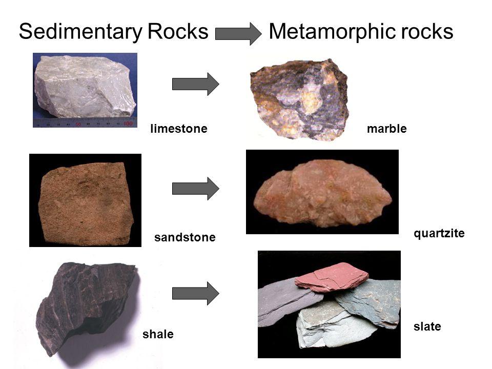 Sedimentary Rocks Metamorphic rocks limestonemarble sandstone quartzite shale slate