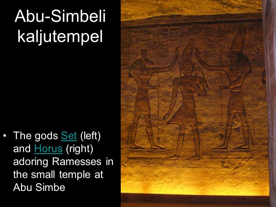 Abu-Simbeli kaljutempel The gods Set (left) and Horus (right) adoring Ramesses in the small temple at Abu SimbeSetHorus