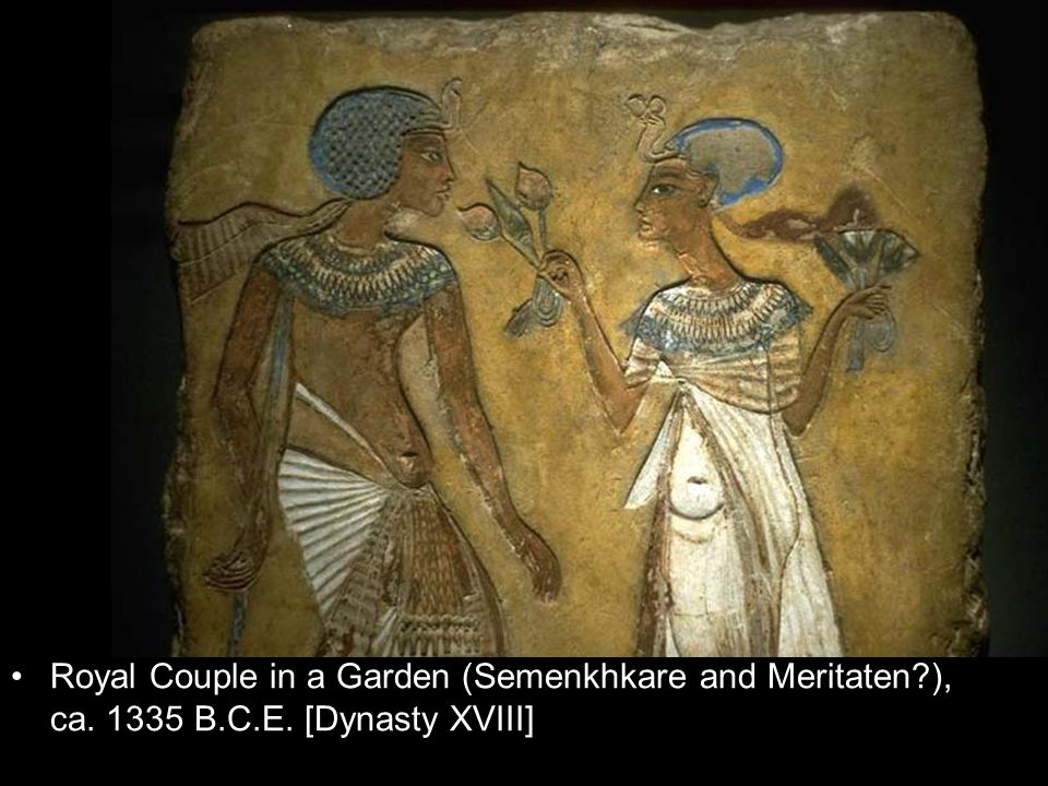 Royal Couple in a Garden (Semenkhkare and Meritaten?), ca. 1335 B.C.E. [Dynasty XVIII]