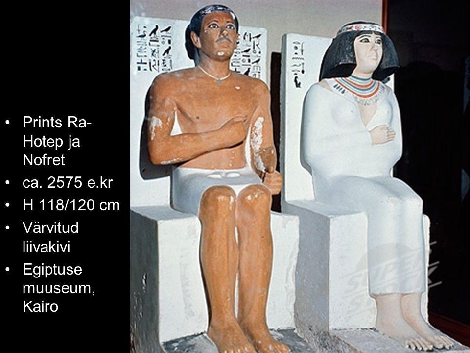 Prints Ra- Hotep ja Nofret ca. 2575 e.kr H 118/120 cm Värvitud liivakivi Egiptuse muuseum, Kairo