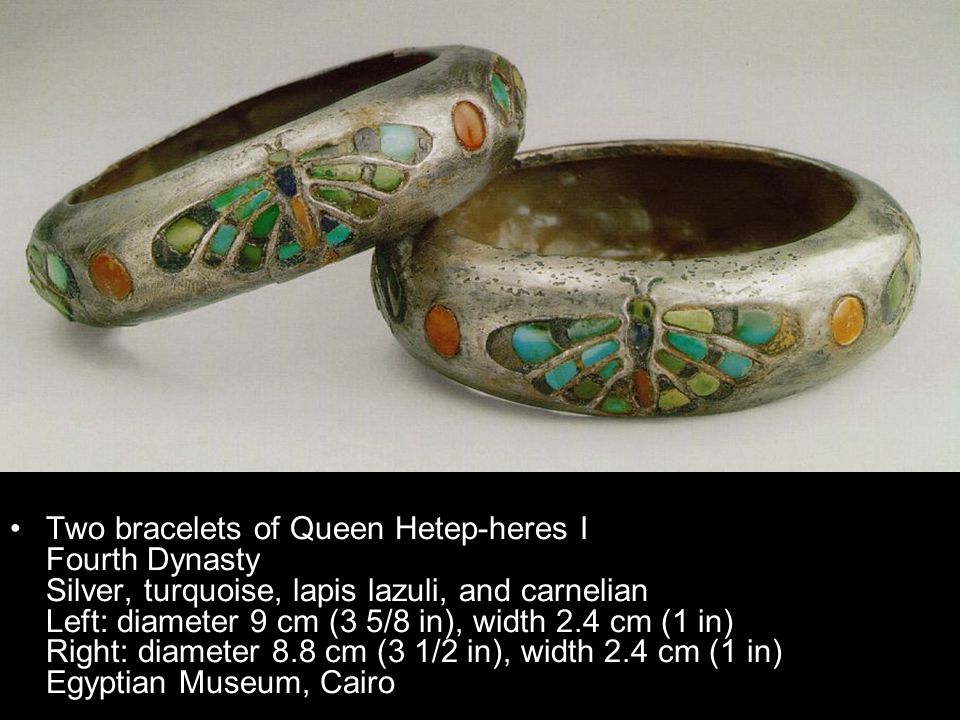 Two bracelets of Queen Hetep-heres I Fourth Dynasty Silver, turquoise, lapis lazuli, and carnelian Left: diameter 9 cm (3 5/8 in), width 2.4 cm (1 in)