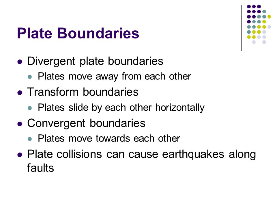 Plate Boundaries Divergent plate boundaries Plates move away from each other Transform boundaries Plates slide by each other horizontally Convergent boundaries Plates move towards each other Plate collisions can cause earthquakes along faults