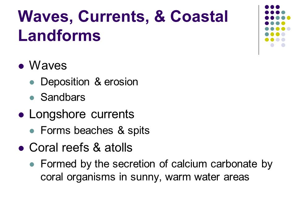 Waves, Currents, & Coastal Landforms Waves Deposition & erosion Sandbars Longshore currents Forms beaches & spits Coral reefs & atolls Formed by the secretion of calcium carbonate by coral organisms in sunny, warm water areas