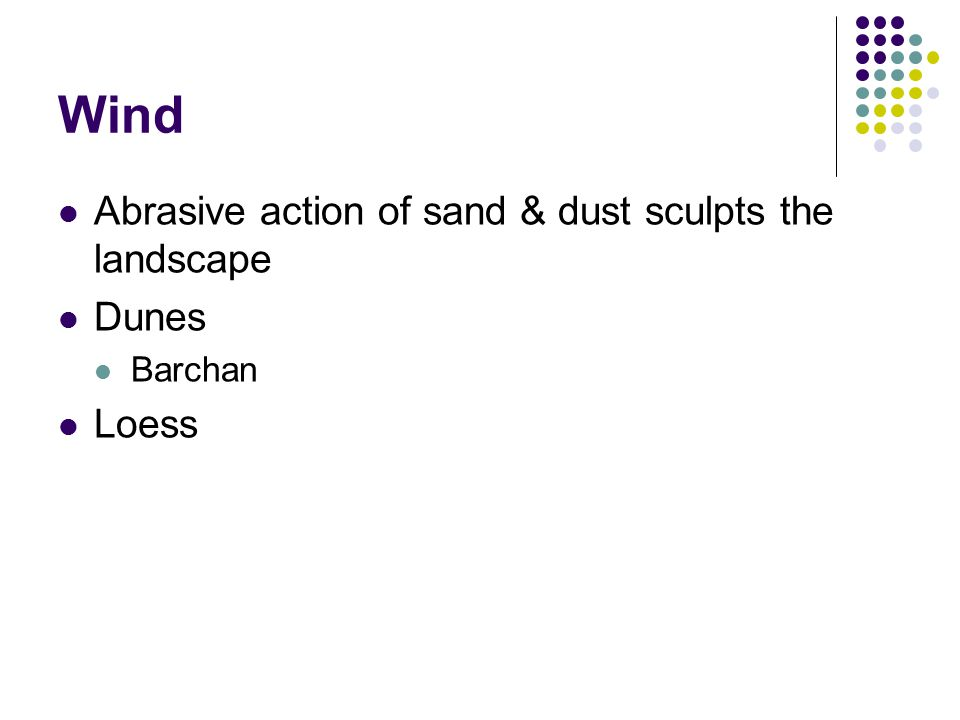 Wind Abrasive action of sand & dust sculpts the landscape Dunes Barchan Loess