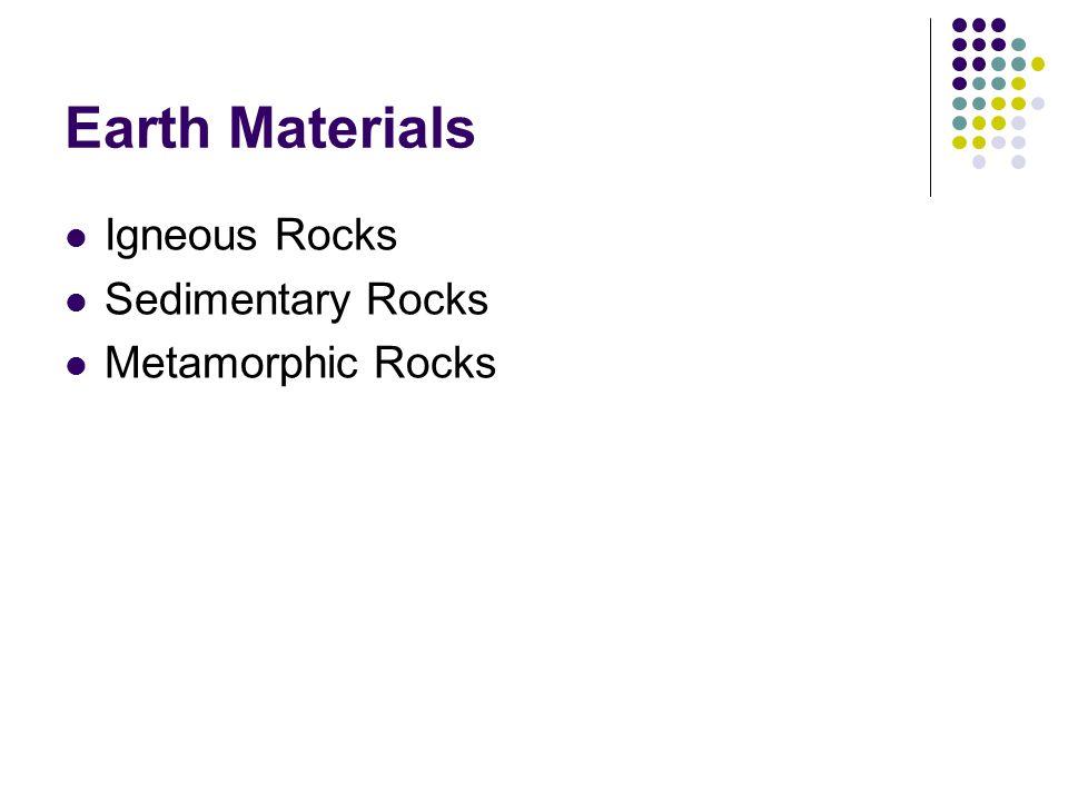 Earth Materials Igneous Rocks Sedimentary Rocks Metamorphic Rocks