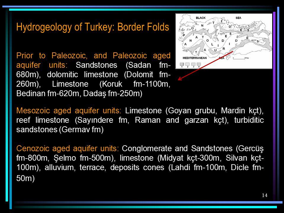 14 Hydrogeology of Turkey: Border Folds Prior to Paleozoic, and Paleozoic aged aquifer units: Sandstones (Sadan fm- 680m), dolomitic limestone (Dolomit fm- 260m), Limestone (Koruk fm-1100m, Bedinan fm-620m, Dadaş fm-250m) Mesozoic aged aquifer units: Limestone (Goyan grubu, Mardin kçt), reef limestone (Sayındere fm, Raman and garzan kçt), turbiditic sandstones (Germav fm) Cenozoic aged aquifer units: Conglomerate and Sandstones (Gercüş fm-800m, Şelmo fm-500m), limestone (Midyat kçt-300m, Silvan kçt- 100m), alluvium, terrace, deposits cones (Lahdi fm-100m, Dicle fm- 50m)