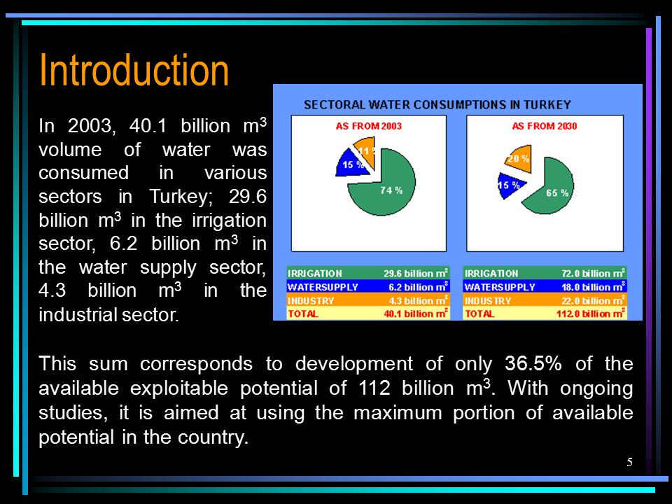 5 Introduction In 2003, 40.1 billion m 3 volume of water was consumed in various sectors in Turkey; 29.6 billion m 3 in the irrigation sector, 6.2 billion m 3 in the water supply sector, 4.3 billion m 3 in the industrial sector.