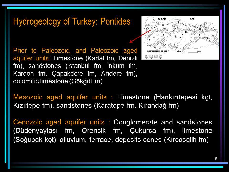 8 Prior to Paleozoic, and Paleozoic aged aquifer units: Limestone (Kartal fm, Denizli fm), sandstones (İstanbul fm, İnkum fm, Kardon fm, Çapakdere fm, Arıdere fm), dolomitic limestone (Gökgöl fm) Mesozoic aged aquifer units : Limestone (Hankırıtepesi kçt, Kızıltepe fm), sandstones (Karatepe fm, Kırandağ fm) Cenozoic aged aquifer units : Conglomerate and sandstones (Düdenyaylası fm, Örencik fm, Çukurca fm), limestone (Soğucak kçt), alluvium, terrace, deposits cones (Kırcasalih fm)
