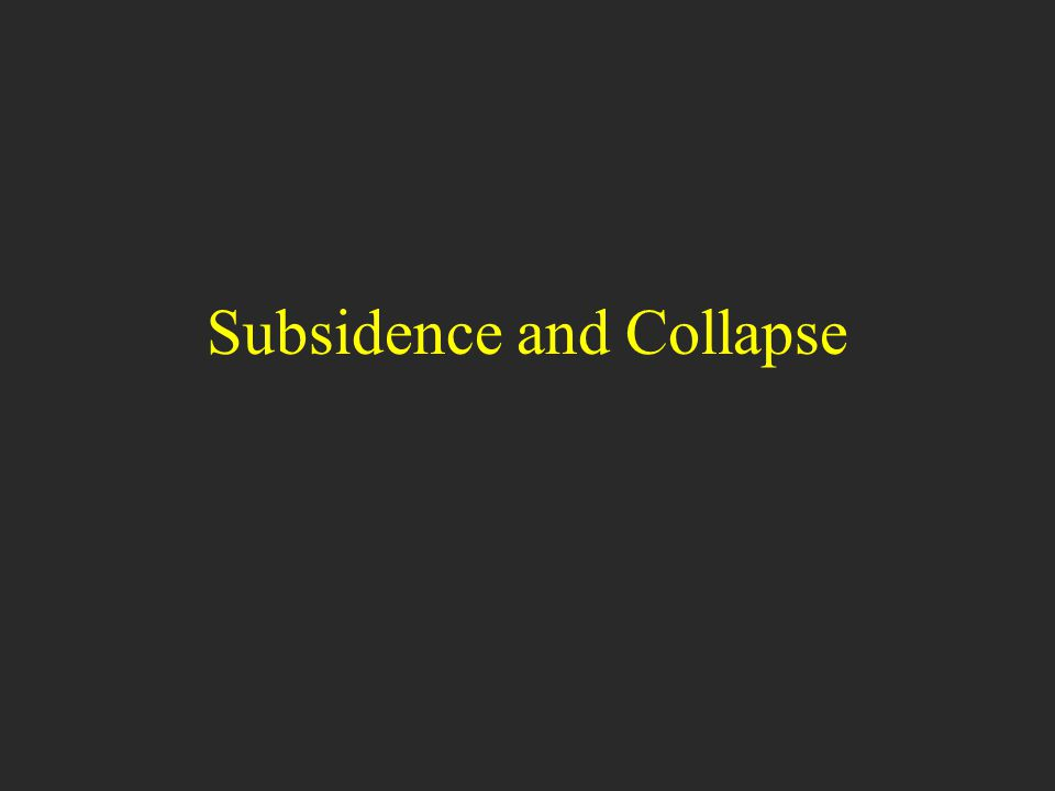 Learning Objectives: Supplement Understand the types of subsidence and the causes of each type Key controls of subsidence processes, and mitigation Human effects that promote or mitigate subsidence
