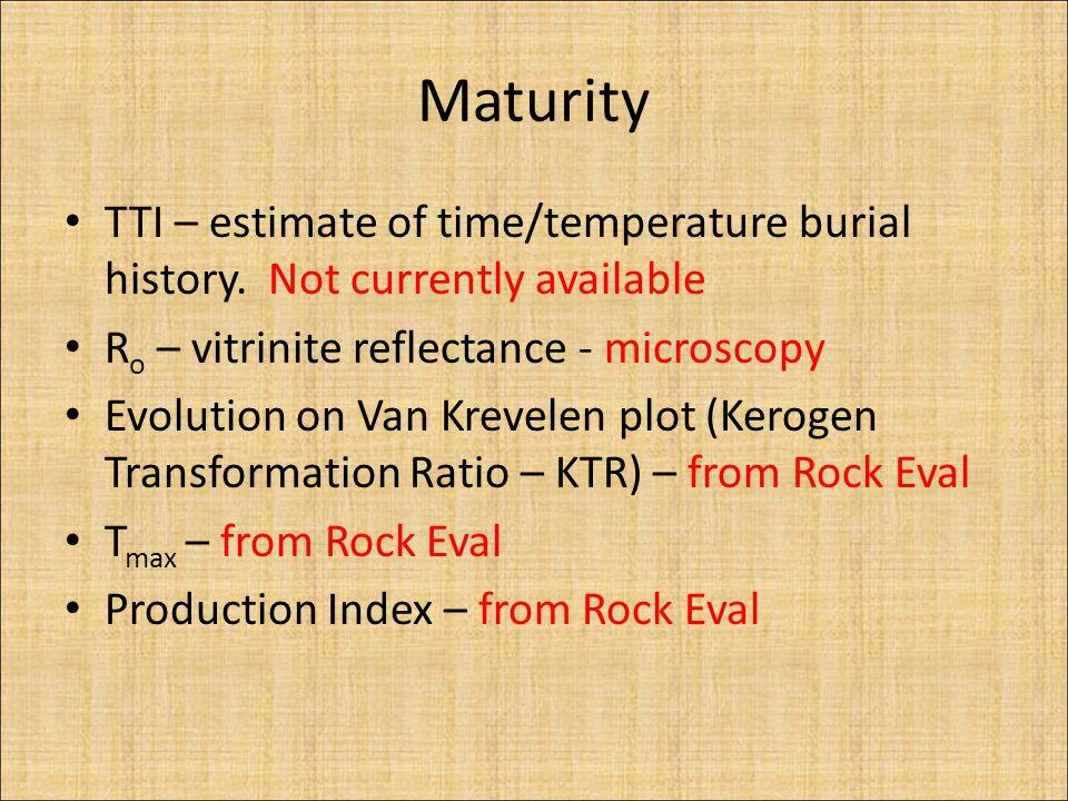 Maturity TTI – estimate of time/temperature burial history. Not currently available R o – vitrinite reflectance - microscopy Evolution on Van Krevelen