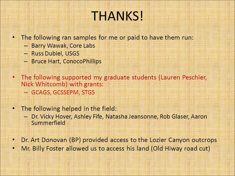 THANKS! The following ran samples for me or paid to have them run: – Barry Wawak, Core Labs – Russ Dubiel, USGS – Bruce Hart, ConocoPhillips The follo