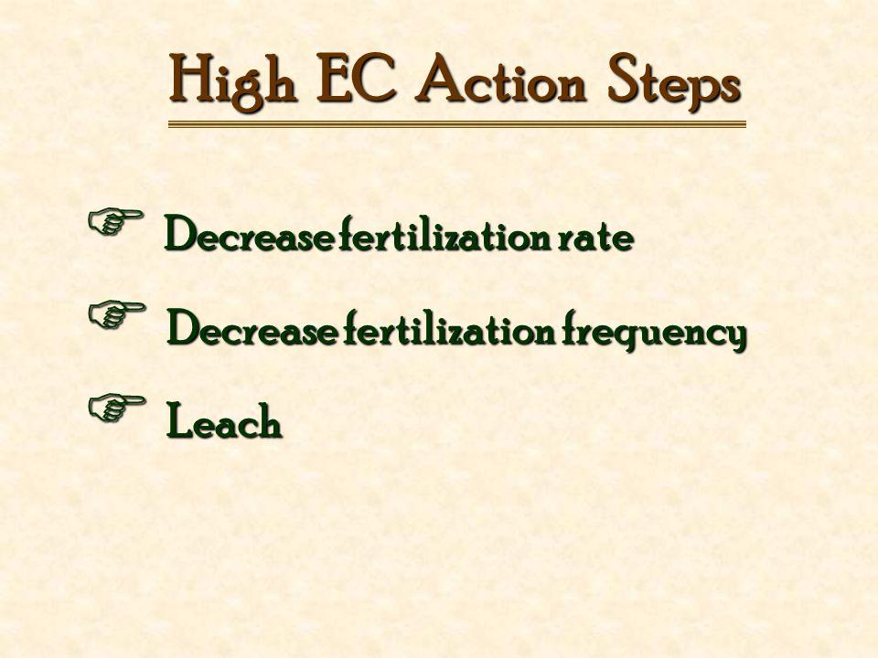 High EC Action Steps  Decrease fertilization rate  Decrease fertilization frequency  Leach