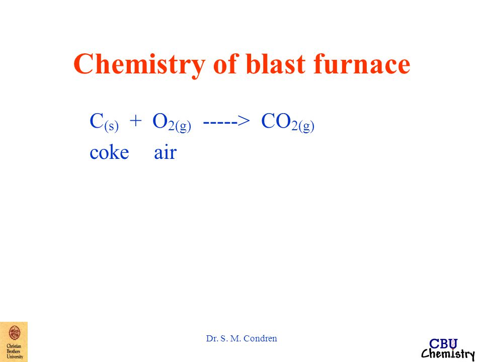 Dr. S. M. Condren Chemistry of blast furnace C (s) + O 2(g) -----> CO 2(g) coke air