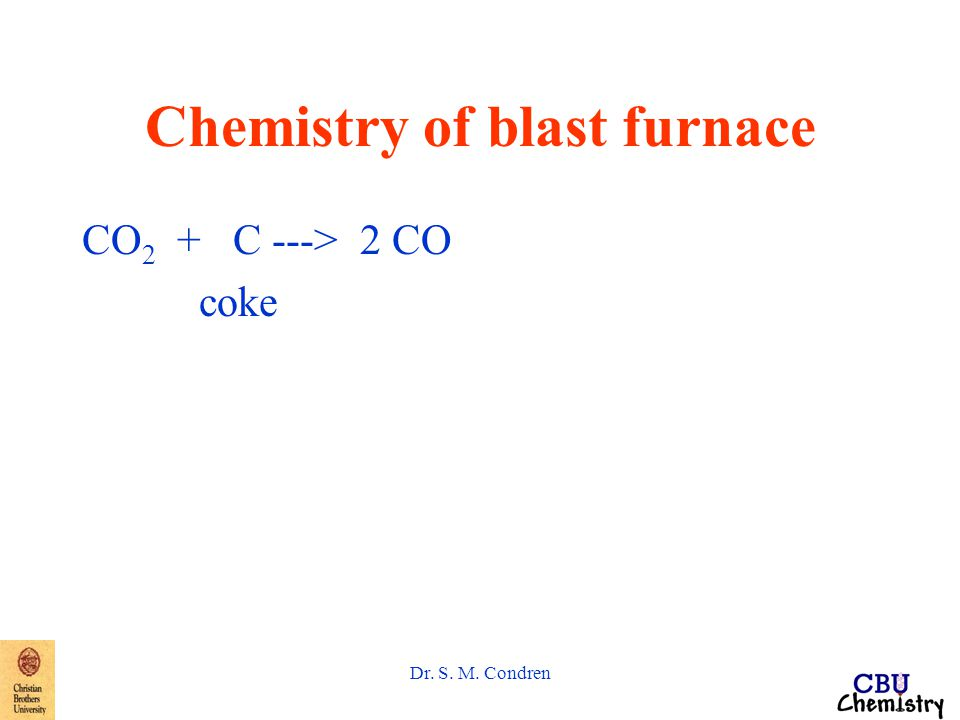 Dr. S. M. Condren Chemistry of blast furnace CO 2 + C ---> 2 CO coke