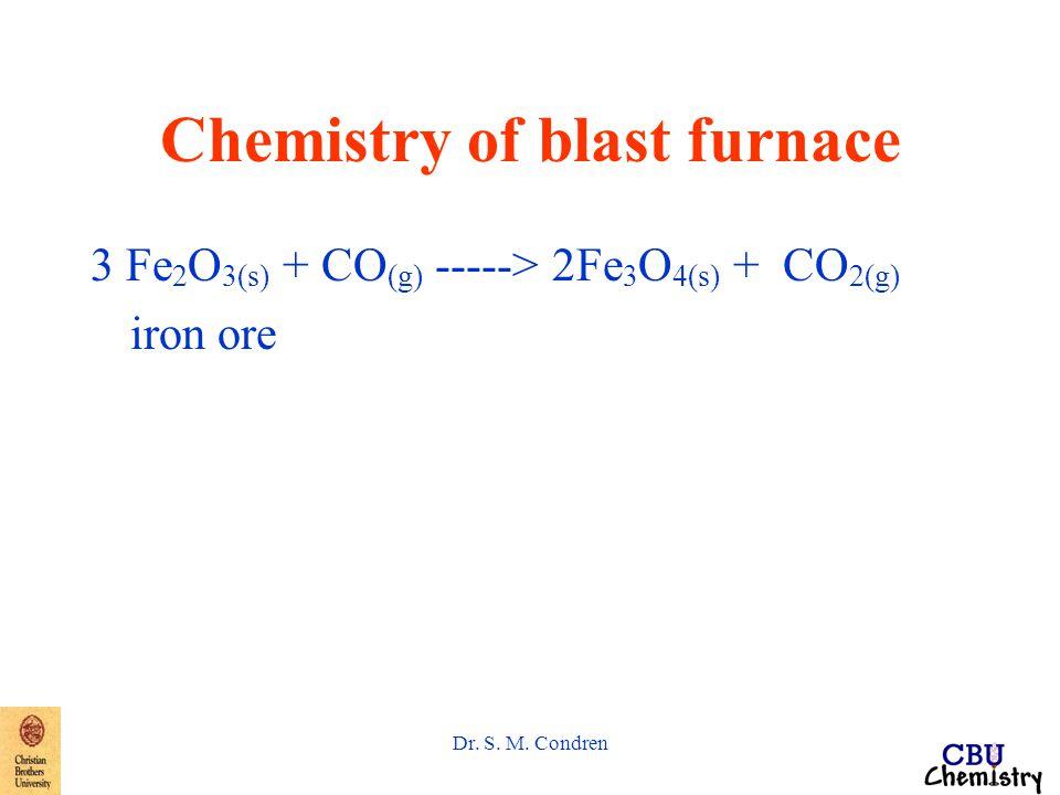 Dr. S. M. Condren Chemistry of blast furnace 3 Fe 2 O 3(s) + CO (g) -----> 2Fe 3 O 4(s) + CO 2(g) iron ore