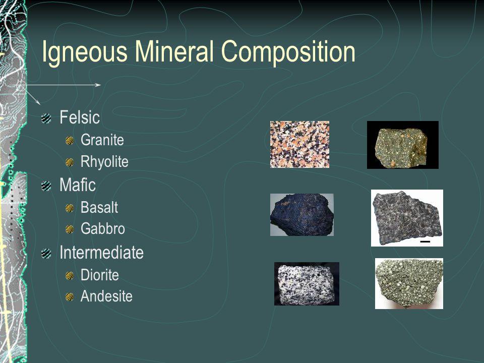 Igneous Mineral Composition Felsic Granite Rhyolite Mafic Basalt Gabbro Intermediate Diorite Andesite