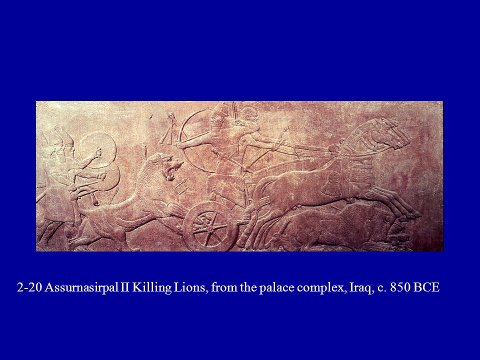 2-20 Assurnasirpal II Killing Lions, from the palace complex, Iraq, c. 850 BCE