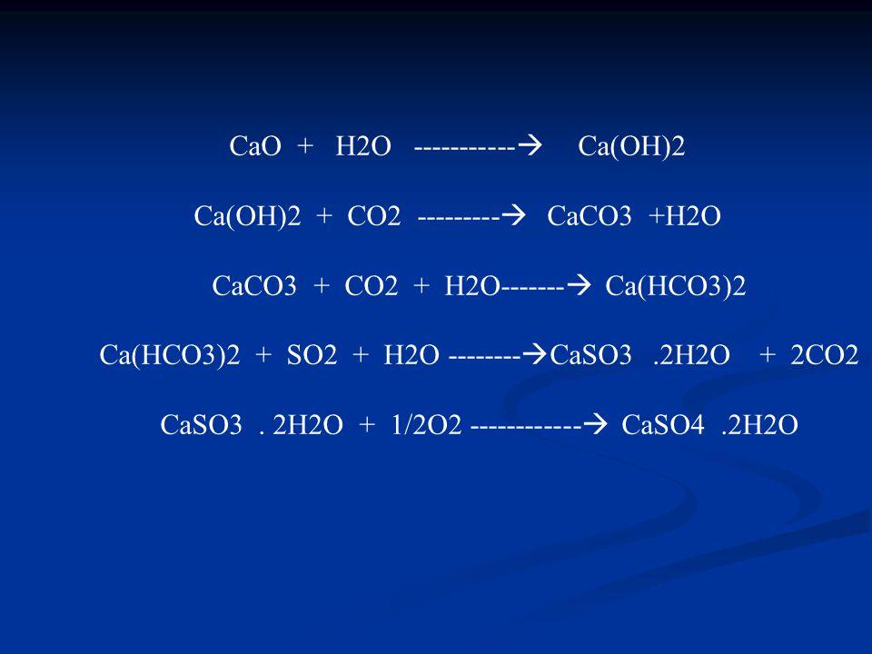 CaO + H2O -----------  Ca(OH)2 Ca(OH)2 + CO2 ---------  CaCO3 +H2O CaCO3 + CO2 + H2O-------  Ca(HCO3)2 Ca(HCO3)2 + SO2 + H2O --------  CaSO3.2H2O