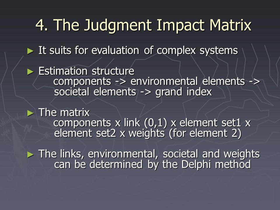 4. The Judgment Impact Matrix ► It suits for evaluation of complex systems ► Estimation structure components -> environmental elements -> societal ele