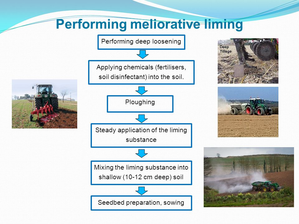 Performing meliorative liming Performing deep loosening Steady application of the liming substance Applying chemicals (fertilisers, soil disinfectant) into the soil.