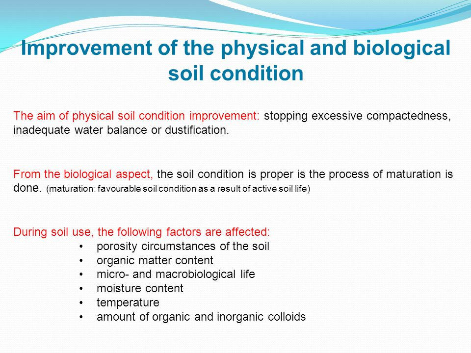 The aim of physical soil condition improvement: stopping excessive compactedness, inadequate water balance or dustification.