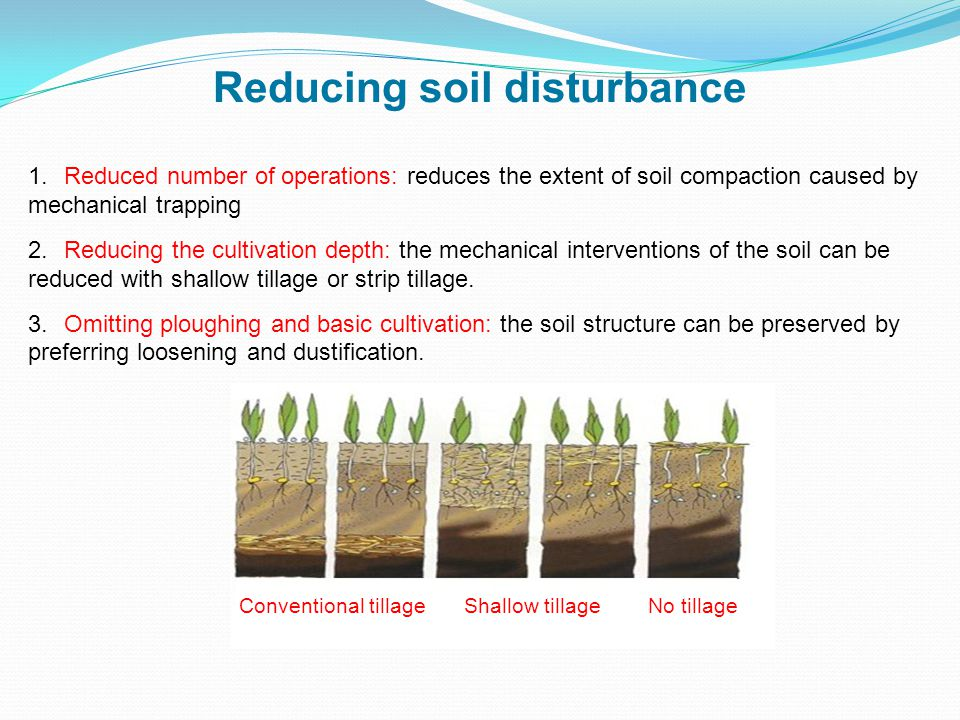 1.Reduced number of operations: reduces the extent of soil compaction caused by mechanical trapping 2.Reducing the cultivation depth: the mechanical interventions of the soil can be reduced with shallow tillage or strip tillage.