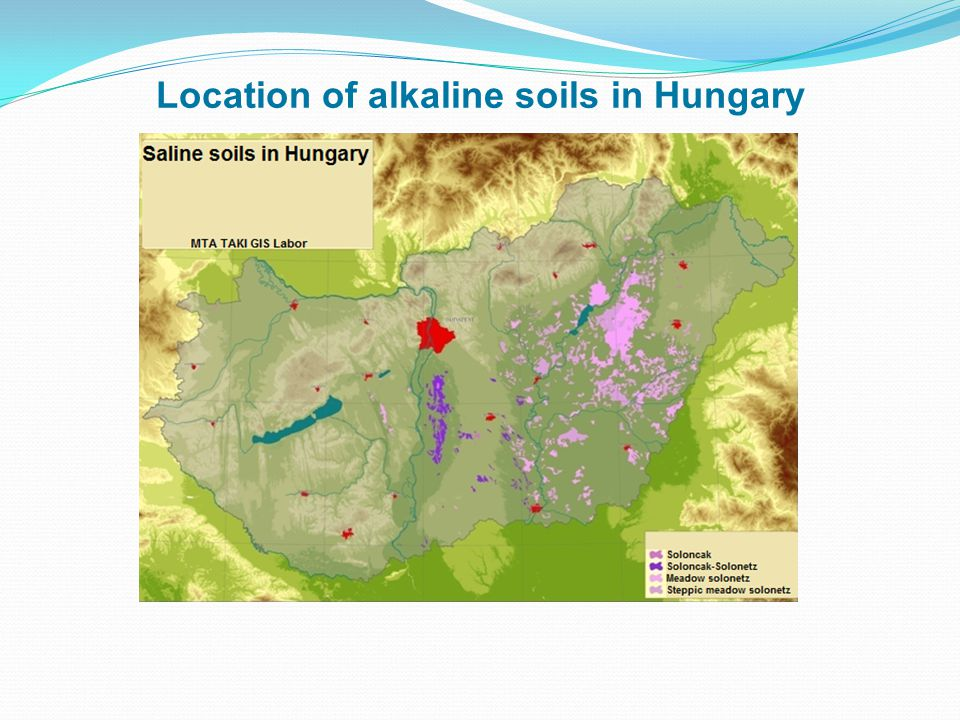 Location of alkaline soils in Hungary