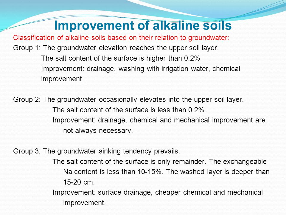 Classification of alkaline soils based on their relation to groundwater: Group 1: The groundwater elevation reaches the upper soil layer.