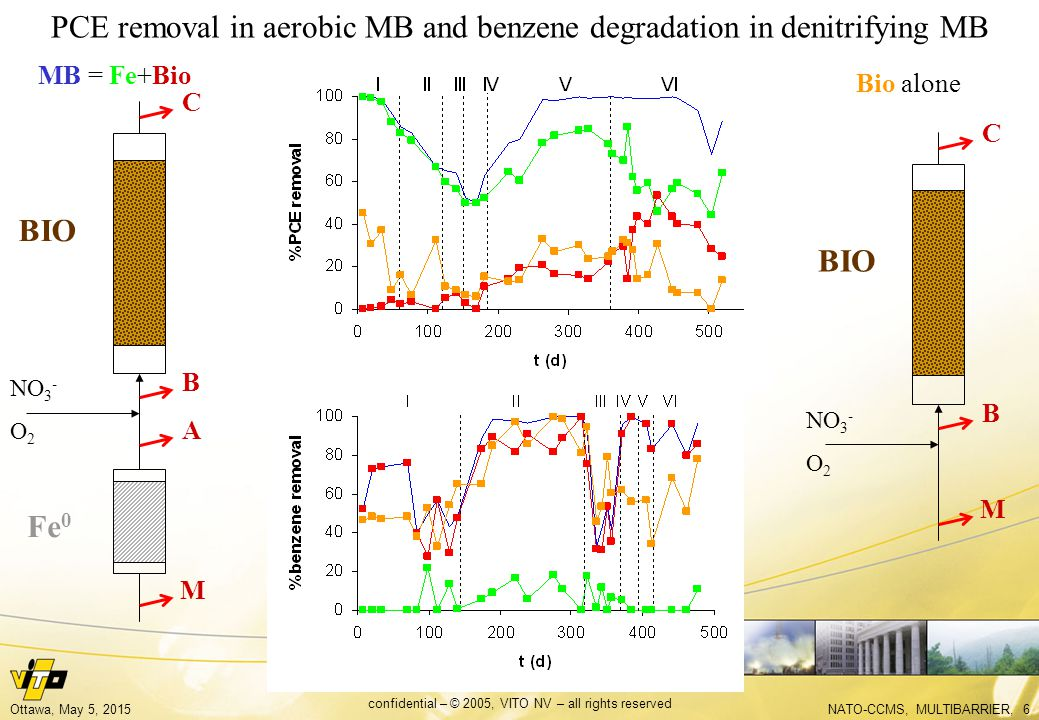 NATO-CCMS, MULTIBARRIER, 6Ottawa, May 5, 2015 confidential – © 2005, VITO NV – all rights reserved BIO Fe 0 PCE removal in aerobic MB and benzene degradation in denitrifying MB BIO A B C M B C M NO 3 - O 2 NO 3 - O 2 MB = Fe+Bio Bio alone