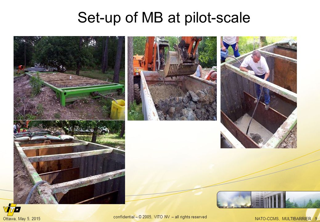 NATO-CCMS, MULTIBARRIER, 9Ottawa, May 5, 2015 confidential – © 2005, VITO NV – all rights reserved Set-up of MB at pilot-scale