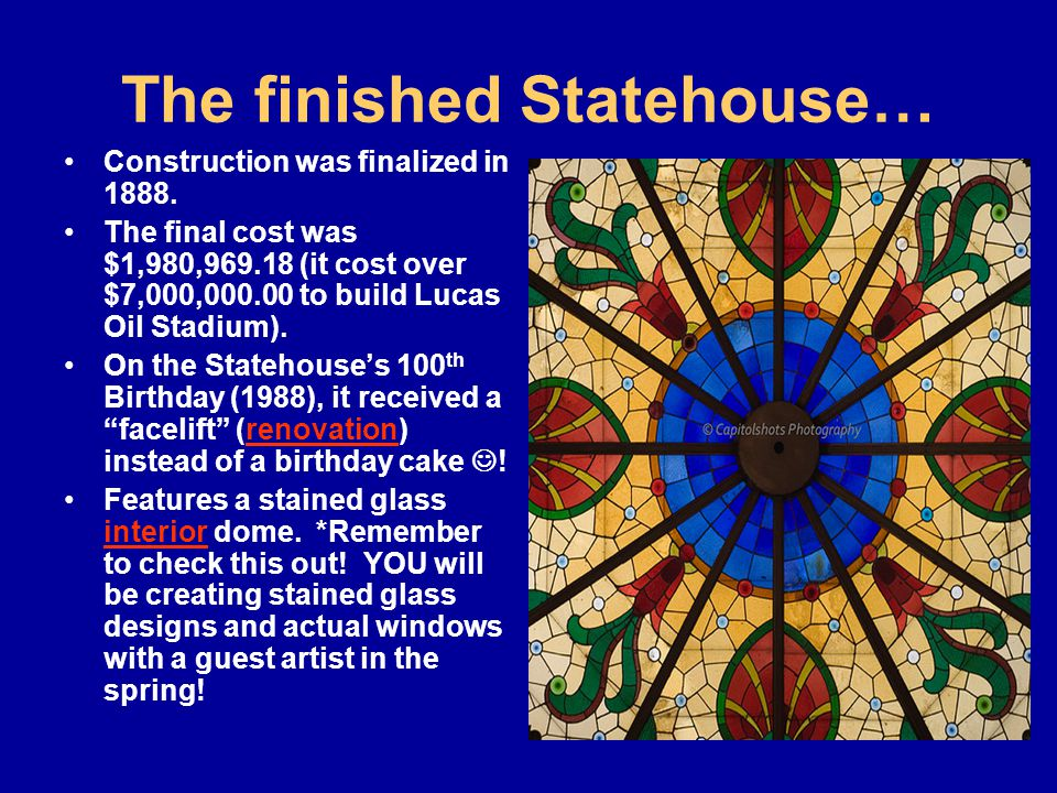 The finished Statehouse… Construction was finalized in 1888.