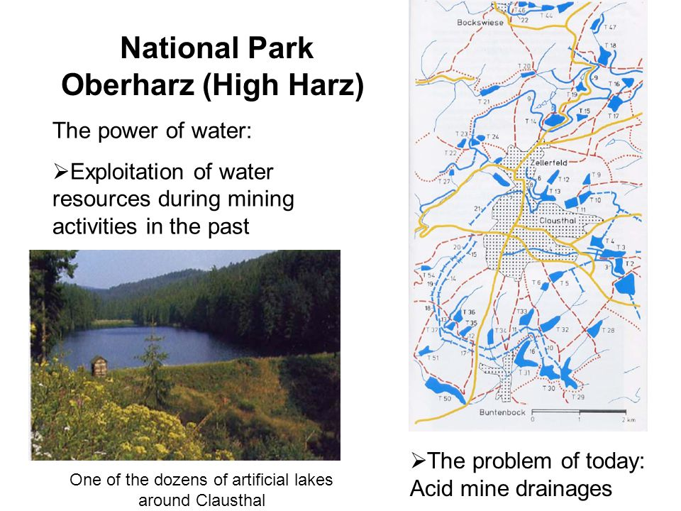 National Park Oberharz (High Harz) The power of water:  Exploitation of water resources during mining activities in the past One of the dozens of artificial lakes around Clausthal  The problem of today: Acid mine drainages