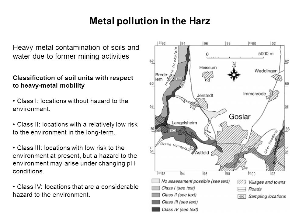 Metal pollution in the Harz Heavy metal contamination of soils and water due to former mining activities Classification of soil units with respect to heavy-metal mobility Class I: locations without hazard to the environment.