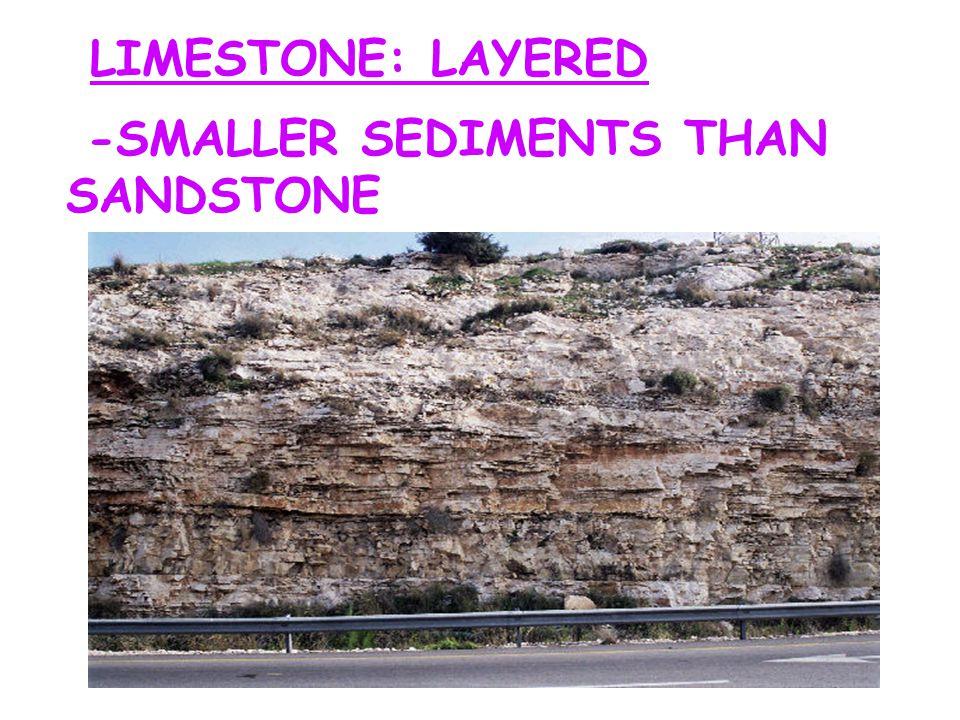 LIMESTONE: LAYERED -SMALLER SEDIMENTS THAN SANDSTONE
