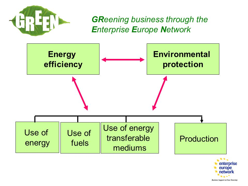 GReening business through the Enterprise Europe Network Energy efficiency Environmental protection Use of energy Use of fuels Use of energy transferable mediums Production