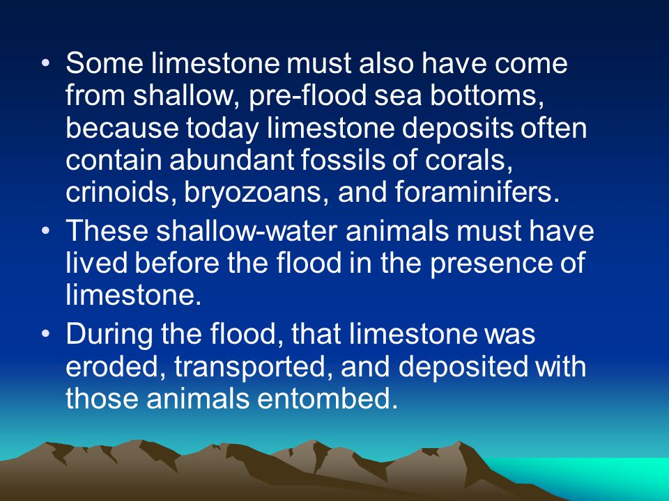 Some limestone must also have come from shallow, pre-flood sea bottoms, because today limestone deposits often contain abundant fossils of corals, cri