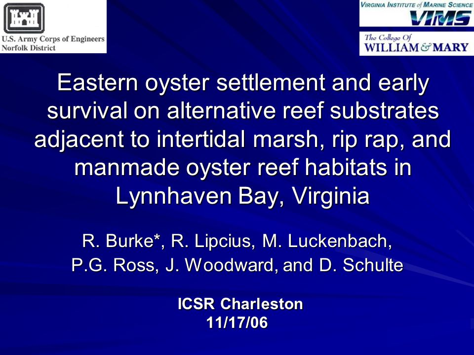 Eastern oyster settlement and early survival on alternative reef substrates adjacent to intertidal marsh, rip rap, and manmade oyster reef habitats in Lynnhaven Bay, Virginia R.