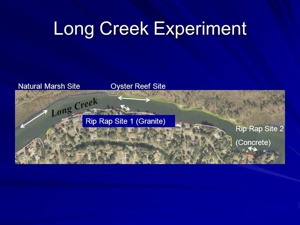Long Creek Experiment Oyster Reef SiteNatural Marsh Site Rip Rap Site 2 (Concrete) Rip Rap Site 1 (Granite)