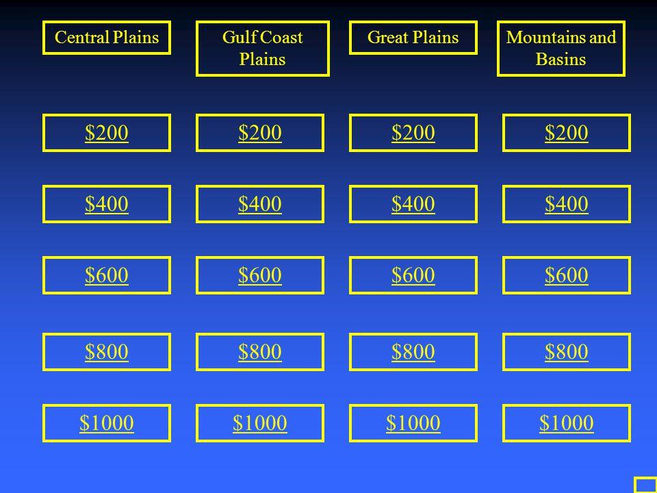 $200 $400 $600 $800 $1000 $200 $400 $600 $800 $1000 $200 $400 $600 $800 $1000 $200 $400 $600 $800 $1000 Central PlainsGulf Coast Plains Great PlainsMo