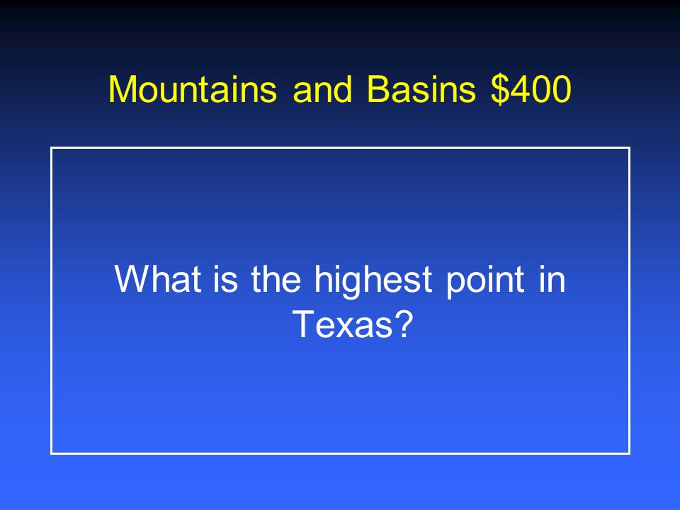 Mountains and Basins $200 What is the climate like in the Mountains and Basins?