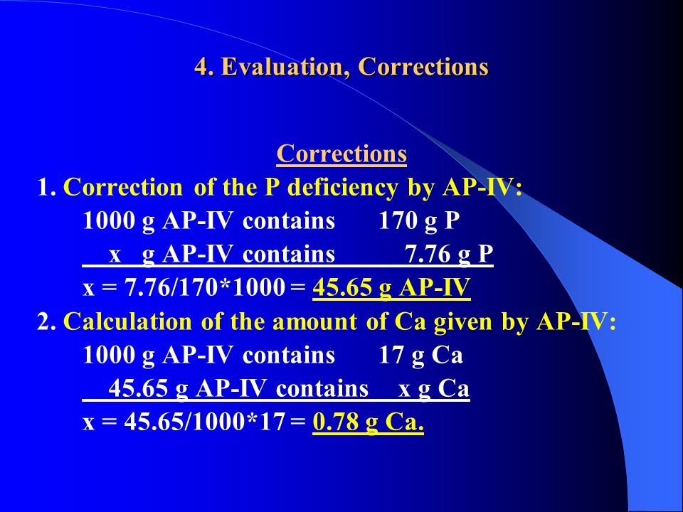 4. Evaluation, Corrections Corrections 1.