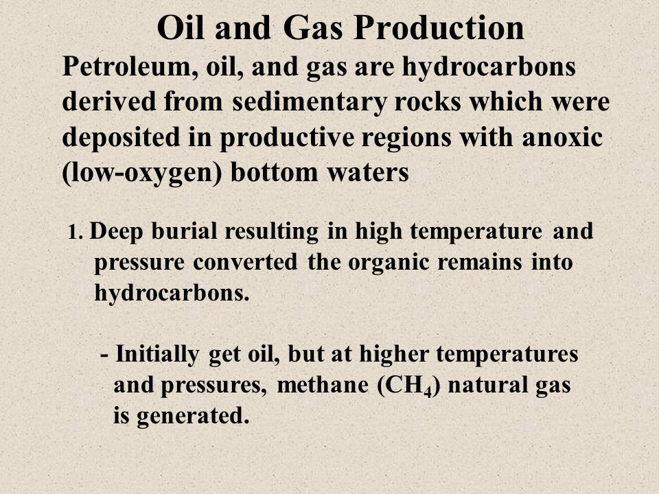 Petroleum, oil, and gas are hydrocarbons derived from sedimentary rocks which were deposited in productive regions with anoxic (low-oxygen) bottom waters 1.
