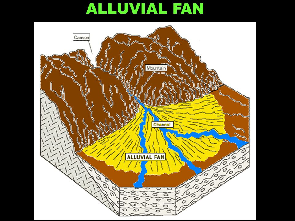 Water slows when hits gentle slope ALLUVIAL FAN
